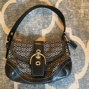 Signature Coach Hobo Black Canvas And Leather Bag.